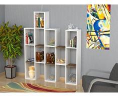 JONA Libreria - Bianco / Noce - Scaffale per libri - Scaffale per ufficio / soggiorno dal design moderno