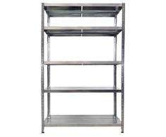 Scaffalatura metallica Maciste - ALTA PORTATA - scaffale in metallo Zincato - 120x50x234h - 5 Ripiani- Portata 1.300 Kg