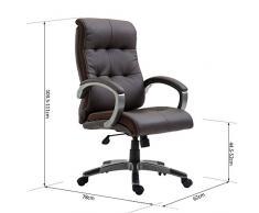 HOMCOM - Poltrona Sedia Direzionale da Ufficio Regolabile e Girevole in Similpelle 62 × 78 × 103.5-111cm Marrone