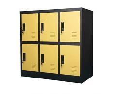 MECOLOR - Armadietto per ufficio e casa, metallo, Giallo, W6D
