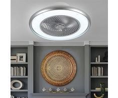 OMGPFR Ventilatore da soffitto con Luce e Telecomando, Illuminazione con ventilatori a soffitto Luci dimmerabili Lampade silenziose a LED per Interni 3 velocità e Colore Regolabili,F