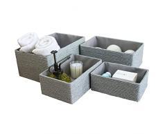 Scatole di Immagazzinaggio di Carta di Eco, Cestino di Immagazzinaggio Impilabile Fatto a Mano Asciugamano Libri di Trucco Armadio Bedroom Decor Set di 4