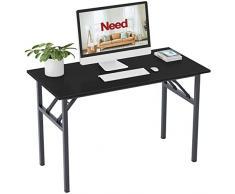 Need Tavoli Pieghevole 120x60cm Scrivanie Studio Tavoli Ufficio Postazioni di lavoro per Computer in Legno Scrivania, Nero