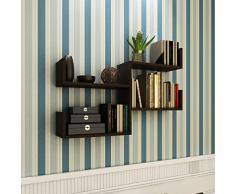 PLUS Mensola da muro – Wengé - Mensola Parete - Mensola Libreria - Scaffale pensile per studio / soggiorno in Design moderno