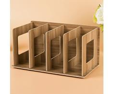 Txxci 4 sezioni in legno desktop Book scaffale porta CD selezione Bookends Office-Colore di legno di ciliegio