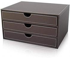 File cabinet Schedari 3 cassetti vassoio in pelle multifunzione File Cabinet Desktop Manager Armadio di sicurezza Gabinetto Governo di immagazzinaggio Storage Box Desktop Ufficio Locker Armadi archivi