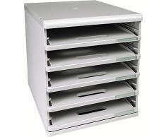 Exacompta Modulo 303040D - Cassettiera da ufficio, formato A4, 5 ripiani aperti, colore: Grigio chiaro