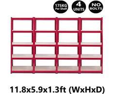 HYLH 4 unità di scaffalature Rosse Rack di stoccaggio a Strati di alloggiamento 5 Tier 180x90x40cm (AxLxP), 175 kg di capacità per ripiano, Metallo Senza bulloni a Livello Regolabile per Garage