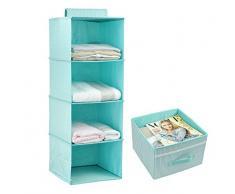 Appendere i vestiti di stoccaggio per i bambini con cassetto (4 scaffalature), Ripostiglio Organizzatore per Abbigliamento e accessori, sveglio di colore (verde menta)