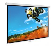 """Schermo Proiezione manuale a molla 174x174cm, Telo da Videoproiettore Avvolgibile 180 x 180cm """"Classic-Eco"""" ottimo per ogni Proiettore 100% Professionale di Qualità Superiore HD!"""