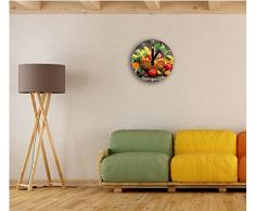 Frutta fresca e verdura nel cestino, orologio da parete diametro 30 centimetri con il nero squadrate le mani e il viso, oggetti decorativi, design orologio, composito in alluminio molto bello per soggiorno, studio