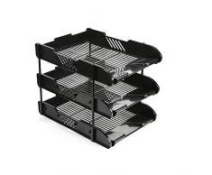 Ardisle Contenitore vaschette per ufficio – per documenti A4, lettere, carta, con 3 ripiani estraibili Black