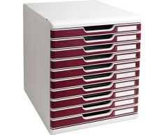 Multiform 302012D - Cassettiera da ufficio provvista di 10 cassetti con serratura, per documenti formato A4, colore: Grigio/Bordeaux