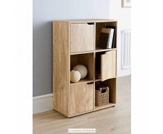 6 cubi MDF Finitura in Rovere Scaffale/3 ante 3 ripiani aperti Libreria ufficio Home Storage