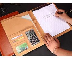 Selighting Cartella Portadocumenti Portablocco A4 Folder/Organizzatore Cartellina Porta Documenti in PU Cerniera per Casa Ufficio Business Conferenza Viaggio (marrone)