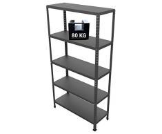GRIMA Componibili Scaffale Metallo 5 ripiani - 100x40x187h (80KG each, total 400KG) Scaffali in metallico, scaffalature metalliche, acciaio per garage, cucina, libreria, ufficio (Antracite)