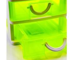 cassettiera minicassetti cassetti scrivania in plastica semitrasparente, scatola portaoggetti, multiuso giallo 4 cassetti