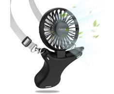 FUNME Ventilatore Collo Sospeso,3350mAh Batteria Ventilatori USB Palmare Portatile Personale Ricaricabile 3 Velocità 90 ° Rotante Mani Libere Luce Notturna per Ufficio Casa Viaggi Campeggio Nero