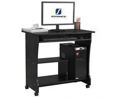 Songmics Scrivania Porta PC Tavolo per Computer Desk con Ripiani Tastiera Ripiano Scorrevole, Nero, 80 × 48 × 76 cm, LCD858B