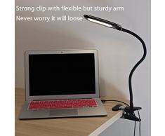 Lampada con Pinza, LOFTER Lampada da Tavolo Regolabile, 6 Modalità Illuminazione, Ricaricabile con USB, Nero
