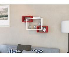 IBIZA Mensola da muro - Bianco / Rosso - Mensola Parete - Mensola Libreria - Scaffale pensile per studio / soggiorno in un design moderno