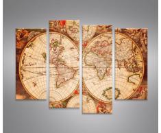 World Map -4er Quadri moderni intelaiati - pronti da appendere - Fotografia formato XXL - Stampa su tela - Quadro x poltrone salotto cucina bagno mobili ufficio casa