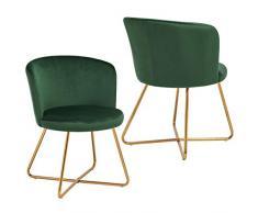 2x Sedia da sala da pranzo sedia imbottita design retro vintage con piedini in metallo sedia di sala dattesa conferenza Duhome 8076X, colore:verde scuro, materiale:velluto