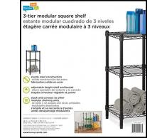 Honey-Can-Do shf-02218 3-Tier scaffalatura in acciaio cavo di Torre unit, Metallo, Nero, 14 x 15 x 76