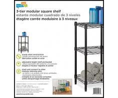 Honey-Can-Do shf-02218 3-Tier scaffalatura in acciaio cavo di Torre unit, Metallo, Nero, 14 x 15 x 76