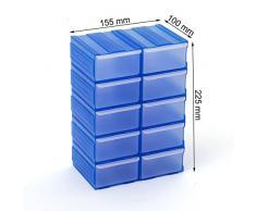 Cassettiera organizer modulare porta minuteria con 10 cassetti, colore: azzurro