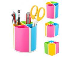 URbantin Portapenne a 4 scomparti per la scrivania, accessori per bambini, portapenne, design ovale o quadrato, in plastica per ufficio, School Supplies (arcobaleno)