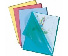5 Star - Cartellina in plastica trasparente, formato A4, apertura a L, 100 pezzi, bianco