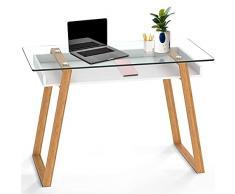 BonVIVO® MASSIMO Scrivania di design, una scrivania da ufficio moderna che combina vetro, legno naturale e una mensola laccata color bianco in un design contemporaneo.