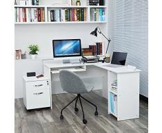 SONGMICS Scrivania per Computer a Forma di L Scrivania ad Angolo, per PC per Casa Ufficio Studio Postazione di Lavoro Scrivania, con portatastiera scorrevole,140 × 120 × 75 cm, Bianco, LCD810W