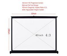 Docooler Schermo proiezione ad alta definizione di 40 pollici (101,6 cm) a manovra manuale, da tavolo, pieghevole, rapporto 4: 3 per proiettore DLP portatile palmare