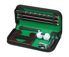 Set gioco del golf da casa o da ufficio in astuccio di similpelle con mazza palline e buca