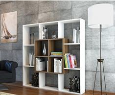 LEEF Libreria - Bianco / Noce - Scaffale per libri - Scaffale per ufficio / soggiorno dal design moderno