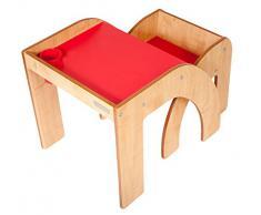 Little Helper - Tavolino scrivania con sedia per bambini piccoli, colore: Acero/Rosso