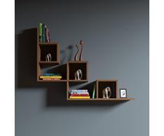 REAL Mensola da muro - Mensola Parete - Mensola Libreria - Scaffale pensile per studio / soggiorno in un design moderno (Rosso)