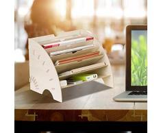 Organizzatore di file di legno scrivania, fai da te in legno fatto a mano da scrivania Organizzatore di forniture per ufficio scrivania accessori da scrivania Organizzatore 7 strati di file vassoio ti