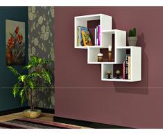 THREE BOX Mensola da muro - Bianco - Mensola Parete - Mensola Libreria - Scaffale pensile per studio / soggiorno in un design moderno