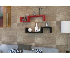 LIATRIS Mensola da muro - Mensola Parete - Mensola Libreria - Scaffale pensile per studio / soggiorno in un design moderno ... (Rosso / Nero)