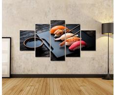 Quadri moderni Primo piano del sashimi sushi set con le bacchette e soia su backgroun nero Stampa su tela - Quadro x poltrone salotto cucina mobili ufficio casa - fotografica formato XXL DSW