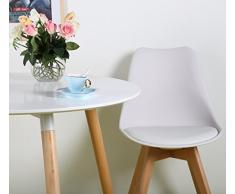 EGGREE Set di 4 Tulip Pranzo/Ufficio Sedia con Gambe in Faggio Massiccio, Sedie Senza Braccia Imbottita di Design per Il Massimo Comfort Bianco