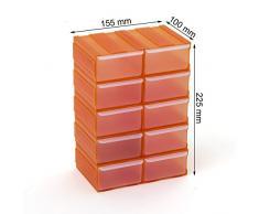 Cassettiera organizer modulare porta minuteria con 10 cassetti, colore: arancione