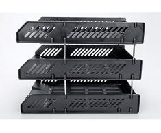Brosuper Set da 3, colore: nero, formato A4, per raccoglitore & Desk cestelli per la corrispondenza e 8 asticelle in metallo da scrivania ufficio porta blocco porta lettere, colore: nero