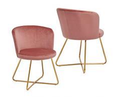 2x Sedia da sala da pranzo sedia imbottita design retro vintage con piedini in metallo sedia di sala dattesa conferenza Duhome 8076X, colore:rosa, materiale:velluto