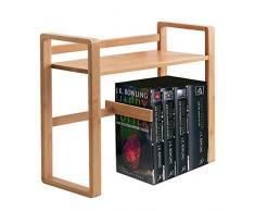 GREFIC Libreria minimalista in bambù organizzatore da scrivania ufficio con regolabile fermalibri libreria scaffale per casa, cameretta, ufficio, 56×19×39cm