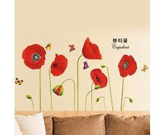 """CasaNet Adesivi Murales Murali Decorazione da Parete """"Rossa Fiore Fioritura Disegno"""" 65x115cm, FAI DA TE per Casa Ufficio Hotel OVUNQUE"""