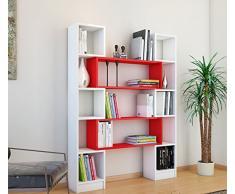 HOPE Libreria - Bianco / Rosso - Scaffale per libri - Scaffale per ufficio / soggiorno dal design moderno